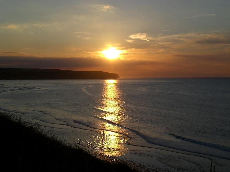 Seaside, Sunset, Coast, Landscape, Yorkshire, Seascape