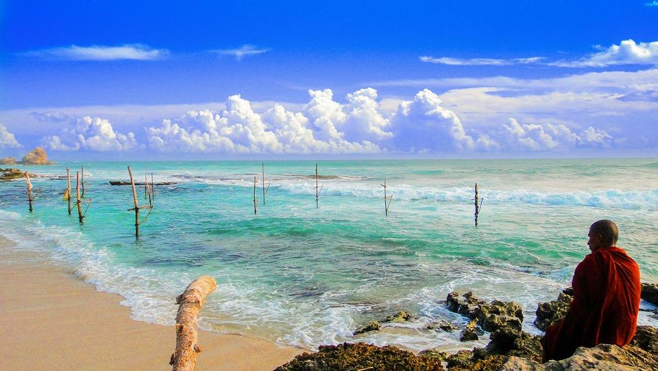 Theravada Buddhism, Monk Beside Beach, Seaside, Beach