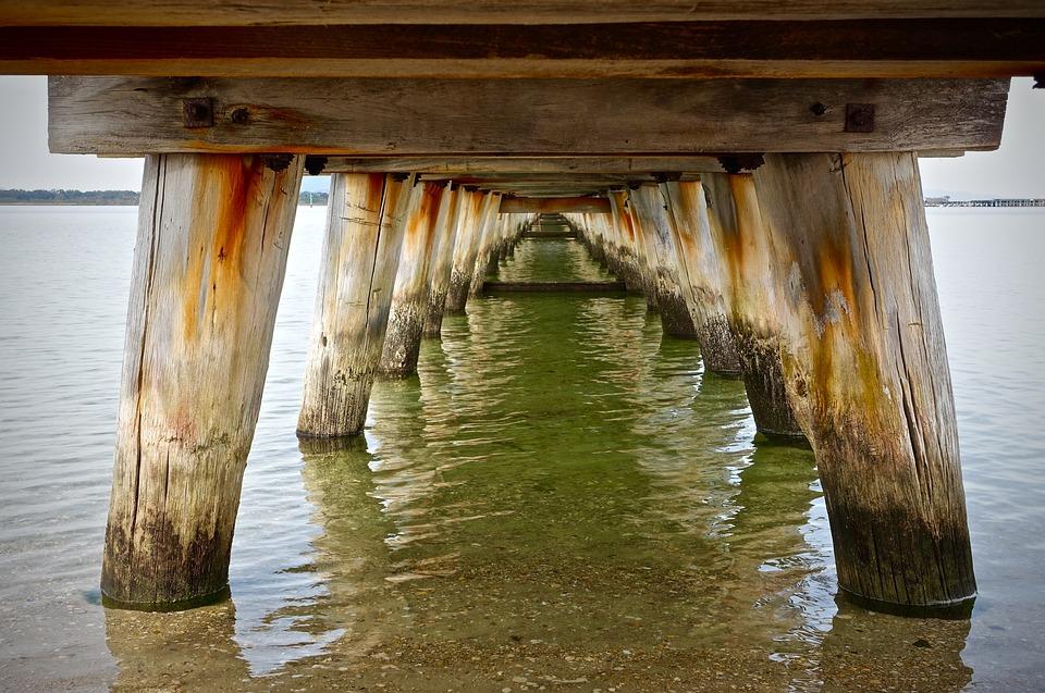 Pier, Posts, Seaside, Wooden, Water, Tranquil, Coast