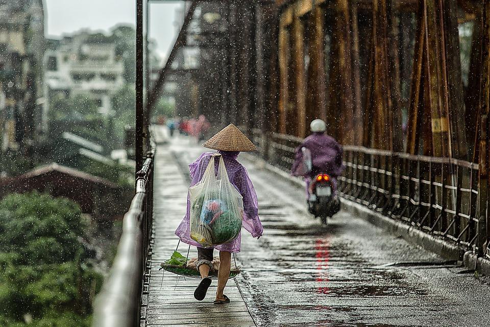 Season, Bridge, Wet, People, Street, Woman, Asia