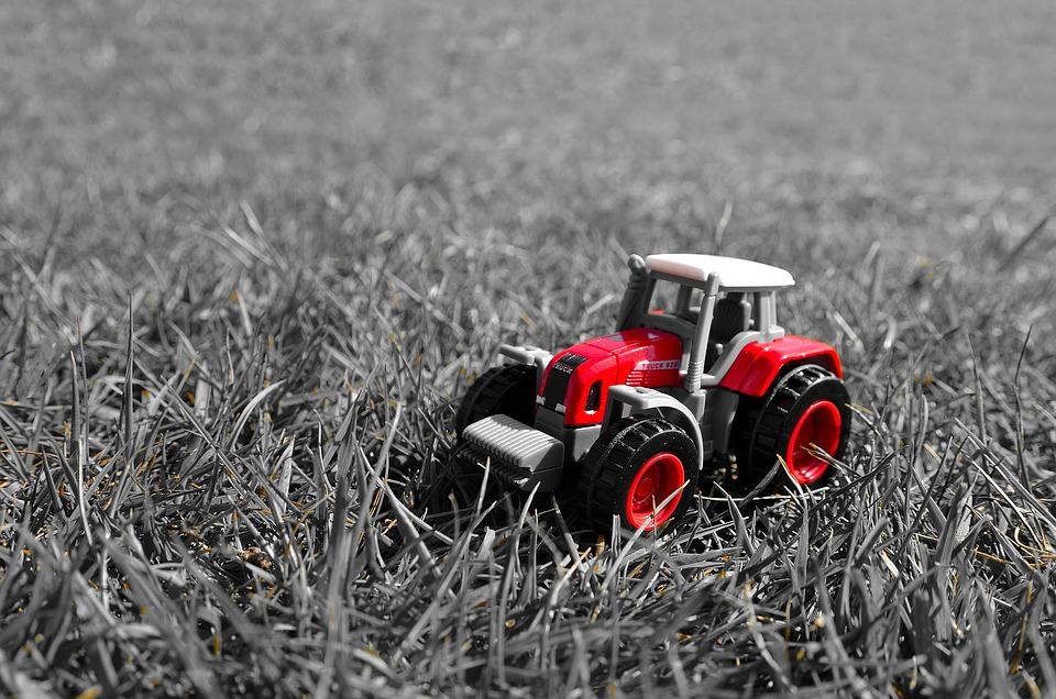 Red, Tractor, Toy, Model, Grass, Season, Light Effect