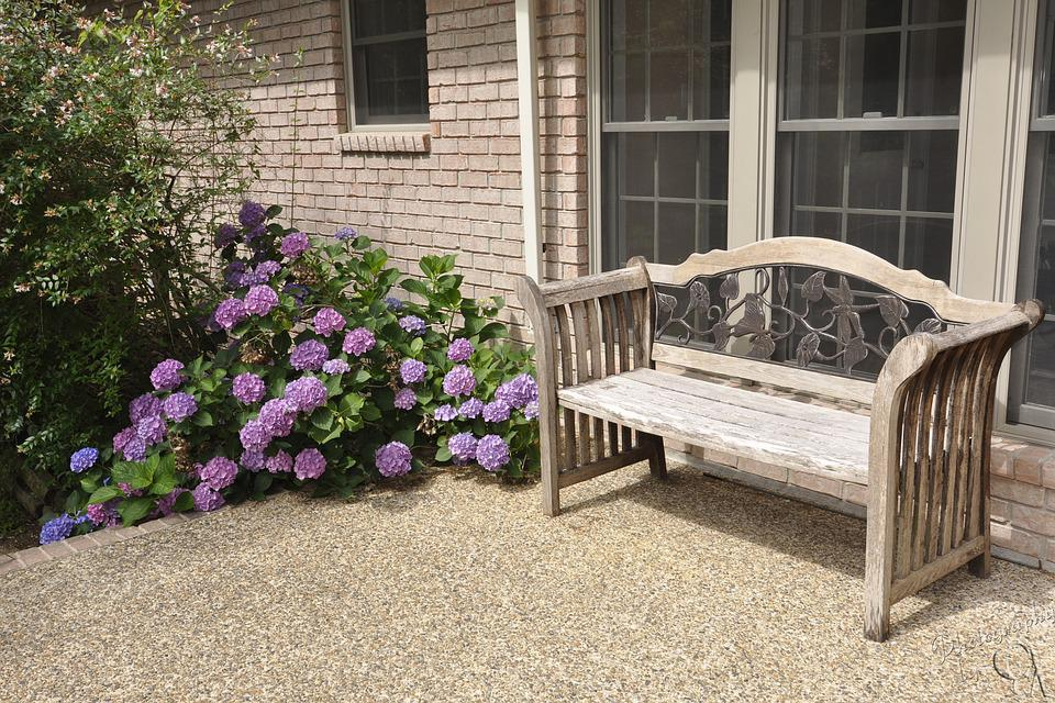 Bench, Seat, Flowers, Purple, Patio, House, Rest