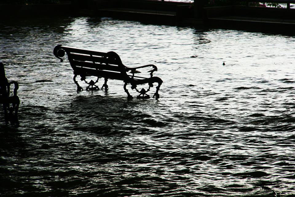 Flood, Seat, Chair, Bench, Water, Flooding, Danger