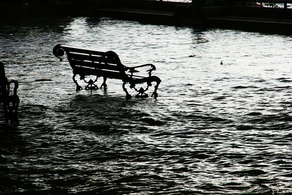 Flood, Seat, Chair, Bench, Water, Flooding, Danger