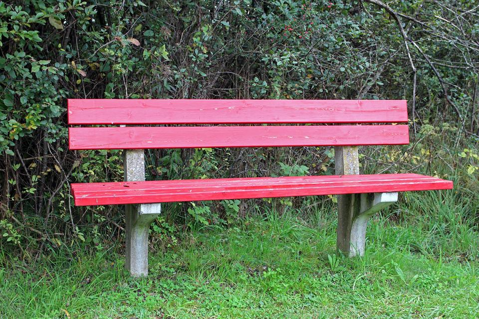 Bench, Bank, Red, Seat, Nature, Out, Sit, Click, Rest