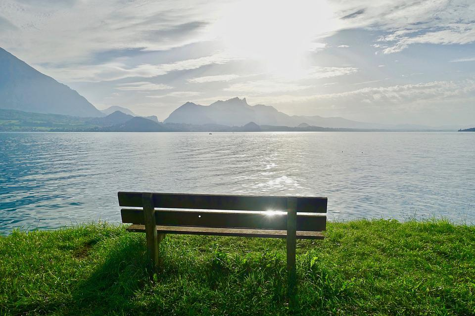 Seat, View, Lake, Sunset, Water, Outlook, Mountains