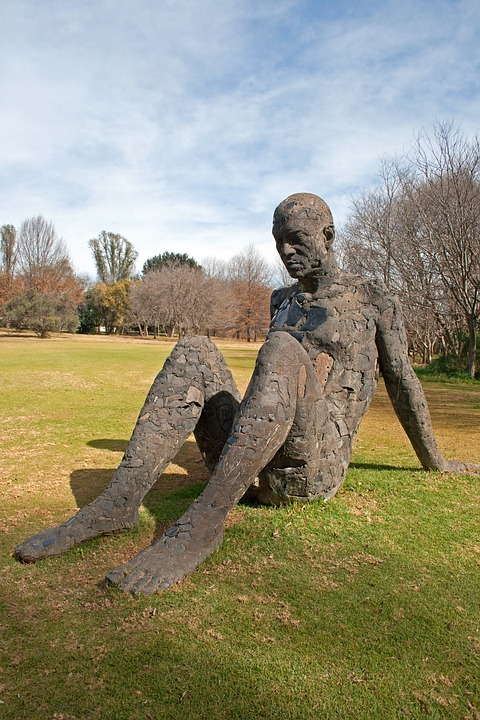 Sculpture, Figure, Statue, Male, Art, Rough, Seated