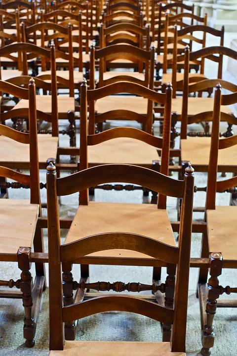 Chairs, Rows, Wooden, Church, Congregation, Seating