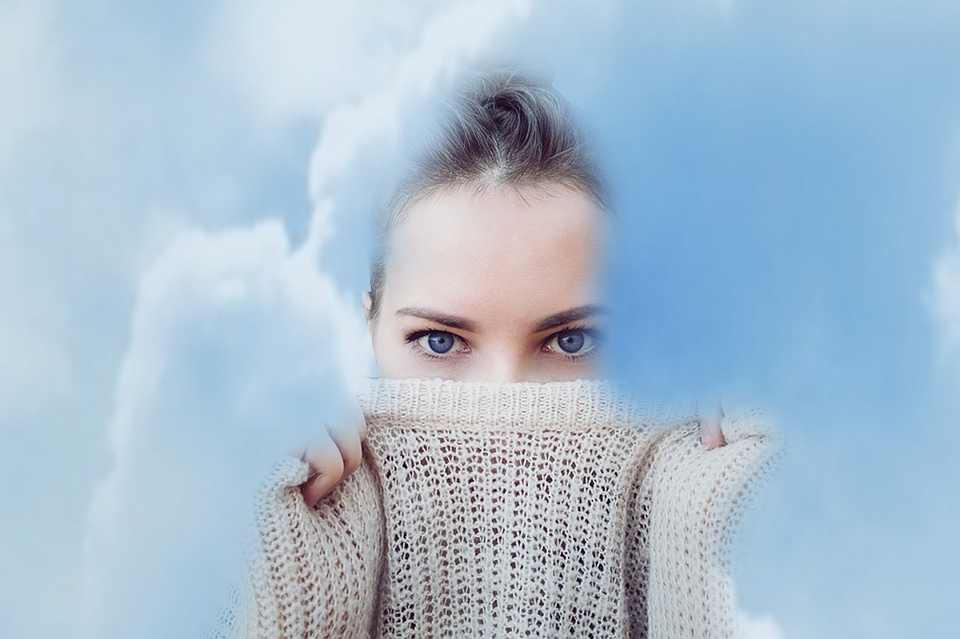 Sky, Girl, Thoughtfulness, Secrecy, Pacification