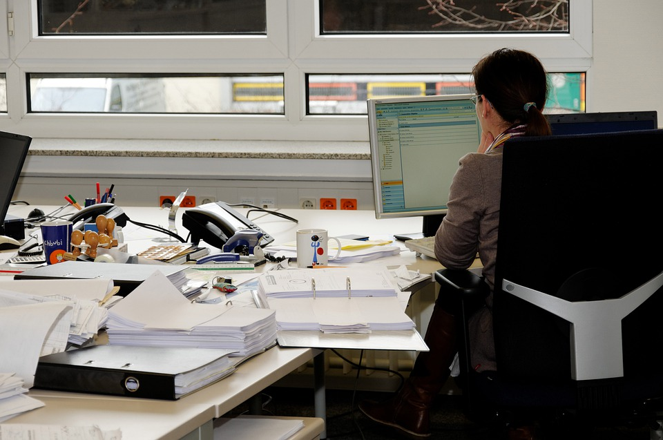 Secretary, Office Job, Office, Desk, Monitor, Work