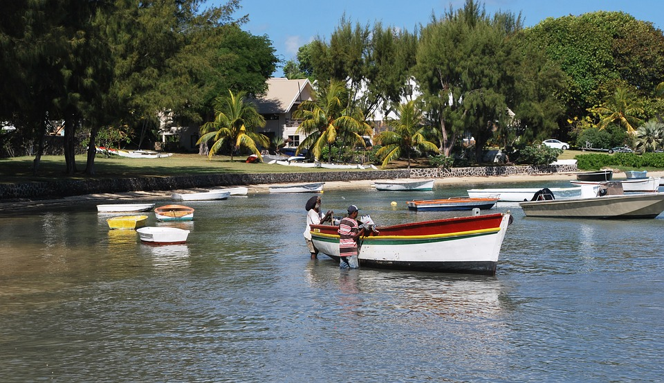 Boat, See, Men, Mauritus, Coast, Summer, Water, Tourism