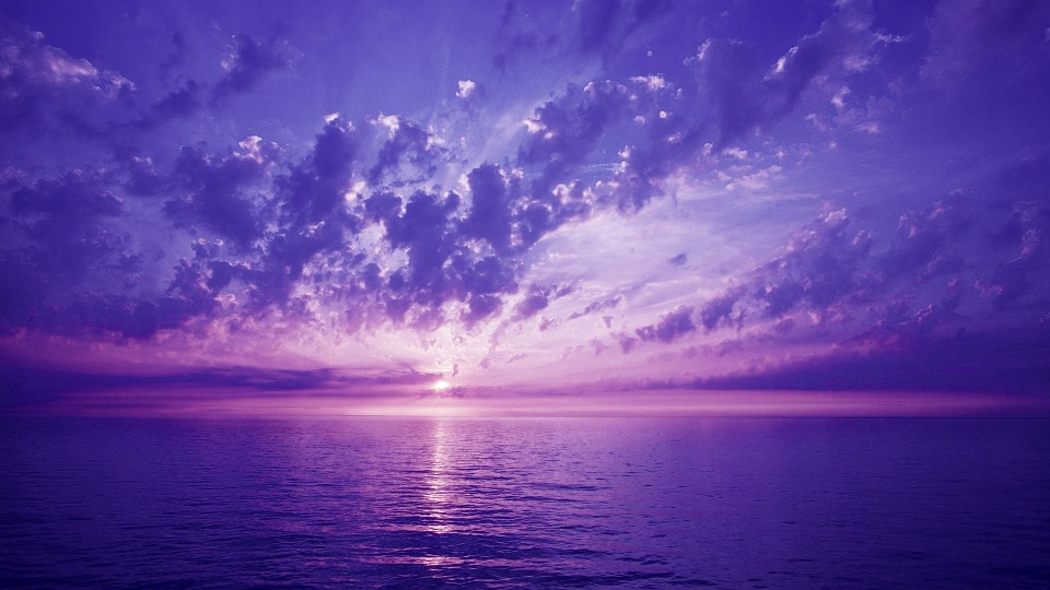 Violet, Sunset, Sky, See, Clouds