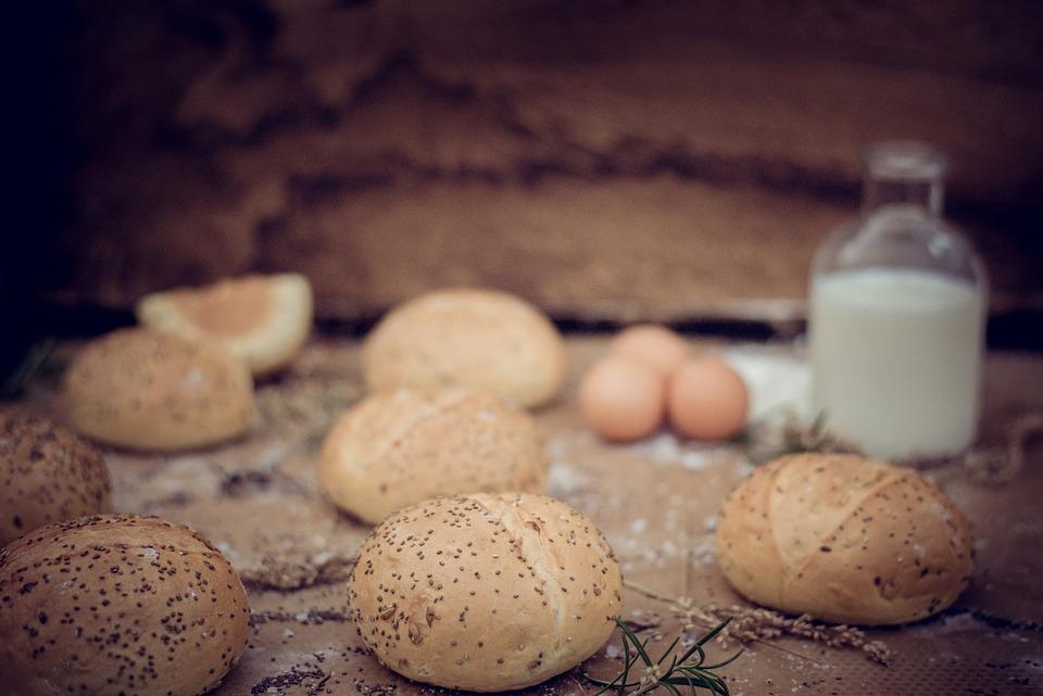 Eggs, Buns, Rolls, Bread, Milk, Seeds