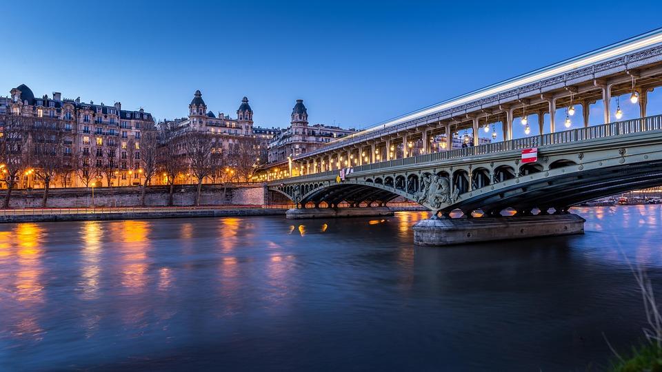 Paris, Bridge, France, River, Seine, Metro, Lights