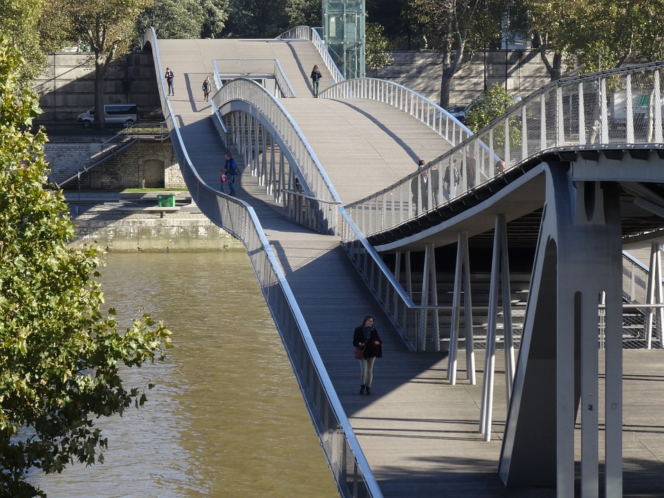 Paris, Seine, Bridge, Perspective, Architecture