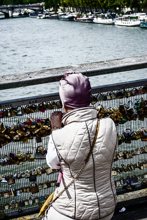 Padlocks, Seine River, Paris, France, Bridge, Sanchez