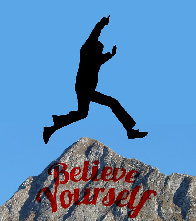 Silhouette, Man, Jump, Motivation, Trust, Self
