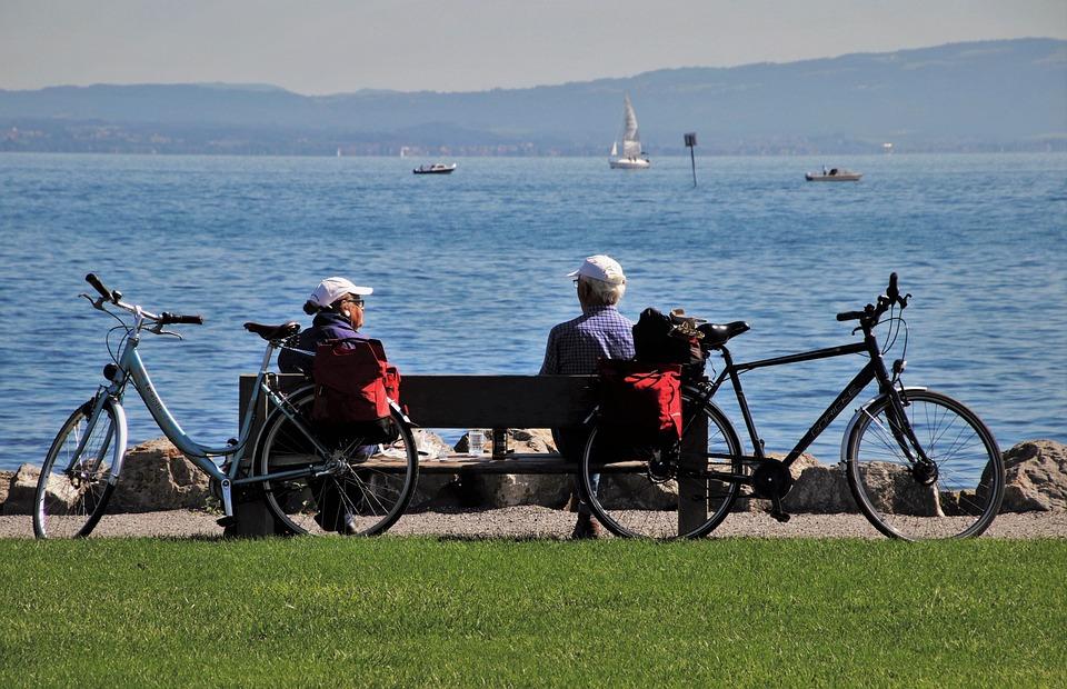 Bench, Bodensee, Senior, Bike, Meeting, Total, Park