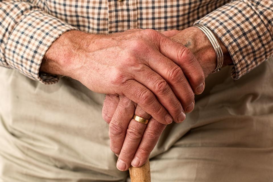 Elderly, Hands, Ring, Walking Stick, Old Person, Senior