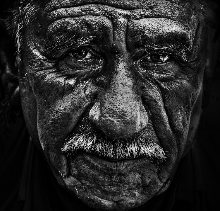 Old man portrait face black and white senior