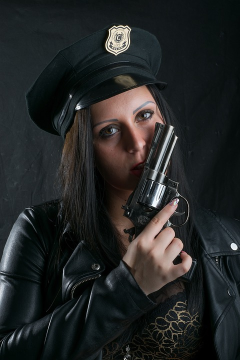 Woman, Officer, Pistol, Sensual, Emotion, Wild