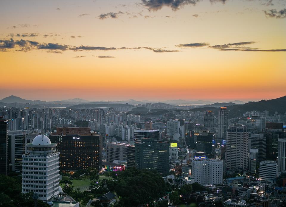 Myeongdong, Seoul, Korea, Sunset, Orange, Metropolitan