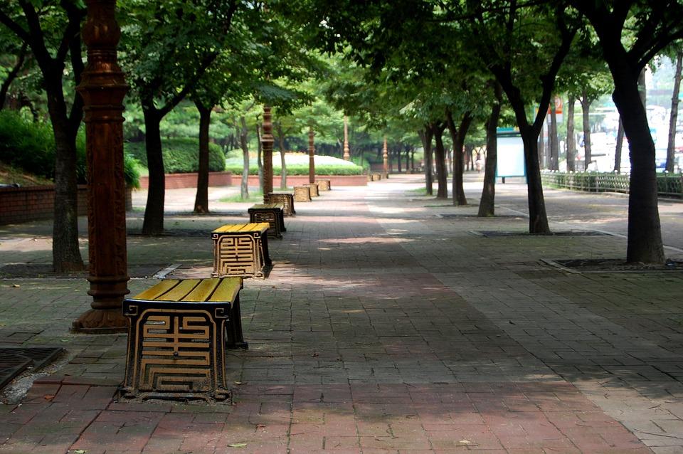 Asia, South Korea, Seoul, Street, Bench