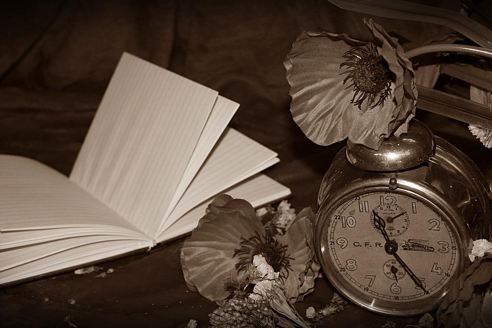Watch, Antique, Book, Poppies, Sepia, Still Life
