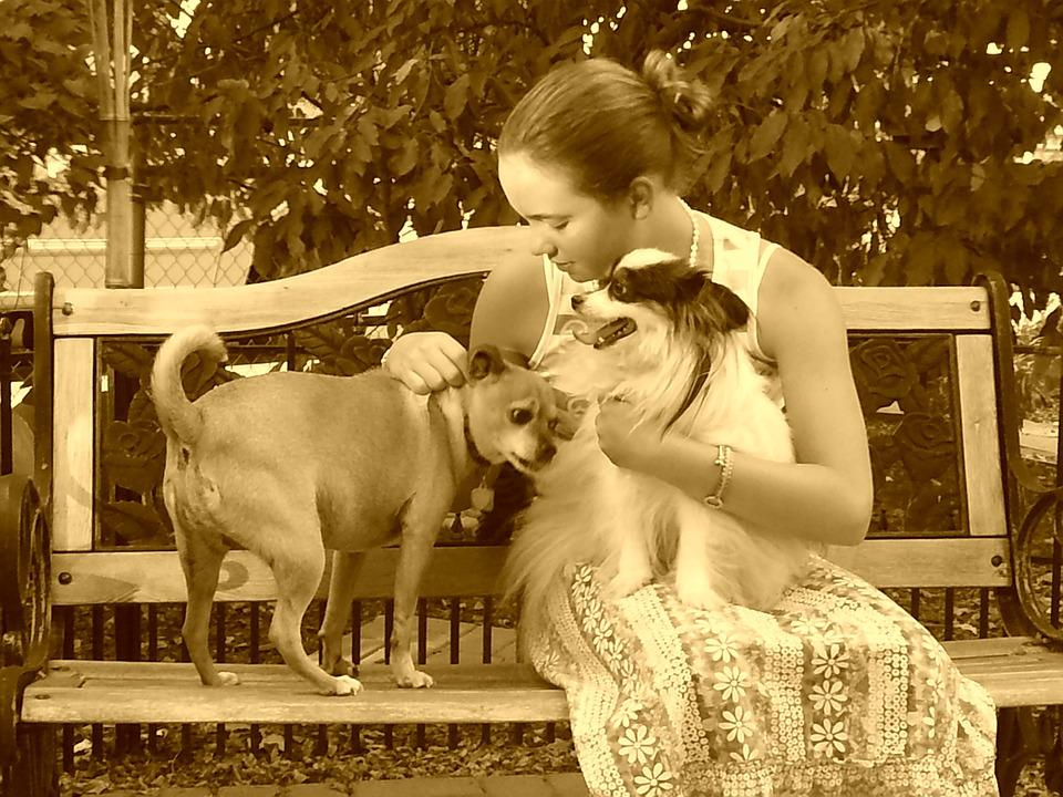 Girl, Dogs, Sepia, Animal, Kid, Portrait, Lifestyle