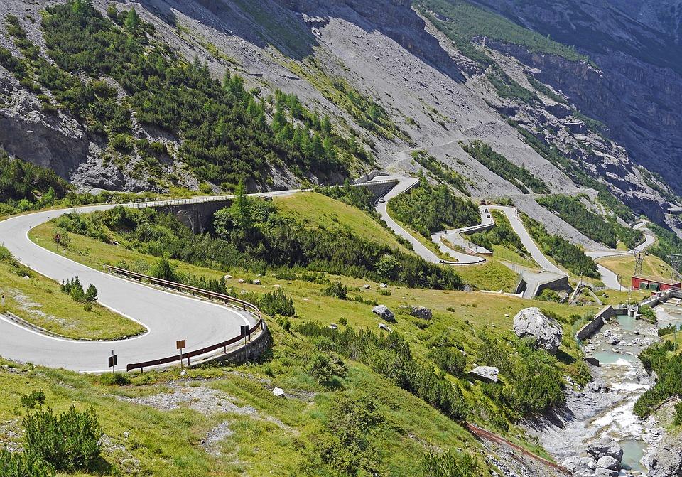 Stelvio Yoke, Südrampe, Serpentine, Pass, Pass Road