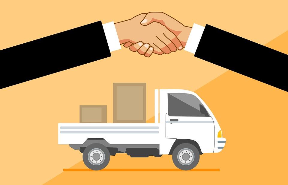 Delivery, Truck, Handshake, Concept, Service, Van