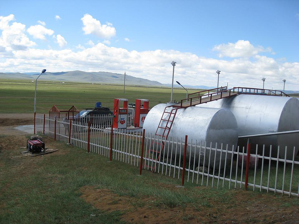 Mongolia, Steppe, Service Station, Pumps, Tanks