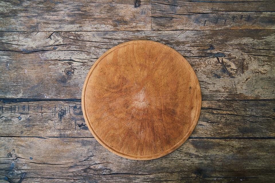 Pizza, Wood, Table, Service, Background, Texture