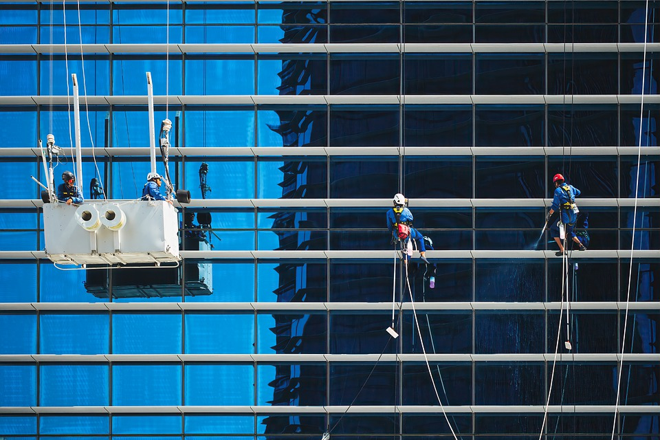 Workers, Windows, Building, Cleaners, Cleaning, Service