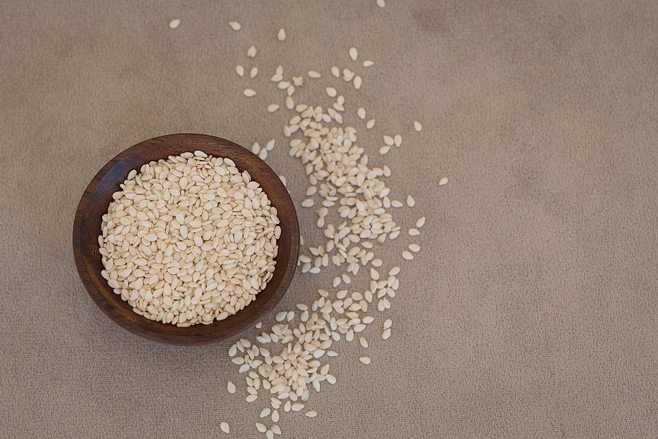Sesame, Sesame Seeds, Cores, Holzschüsselchen, Vessel