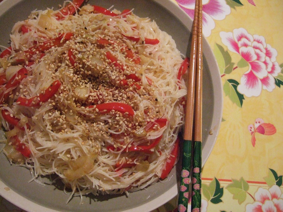 Rice Noodles, Peppers, Sesame