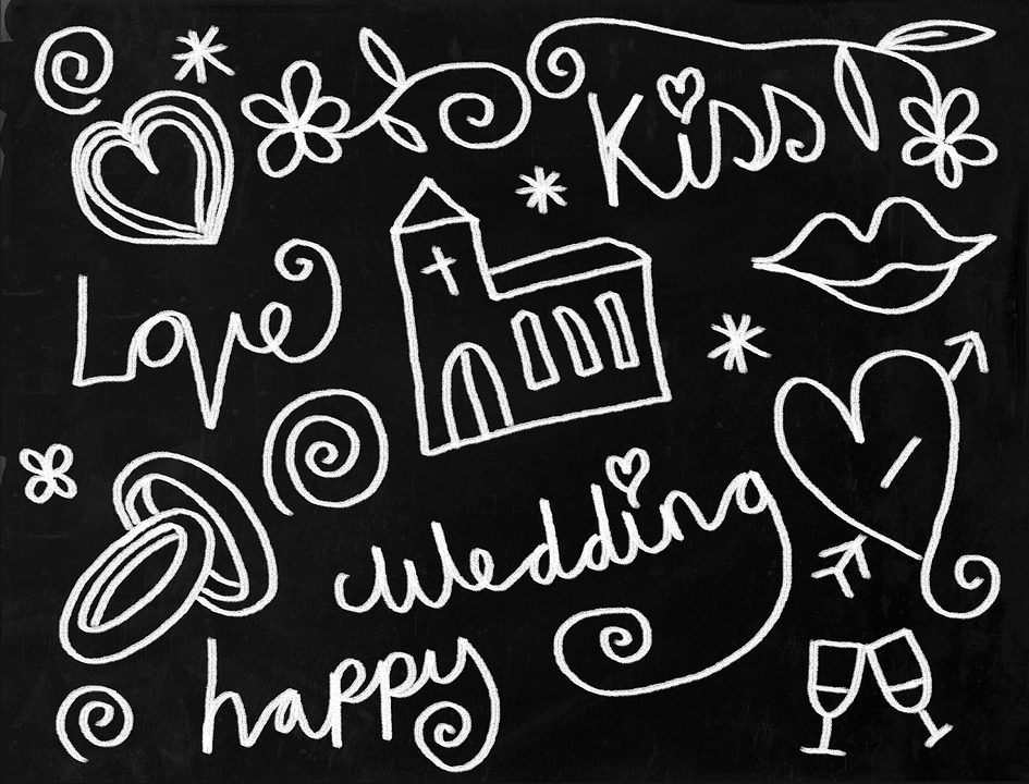 Wedding, Chalkboard, Icons, Set, Doodles, Sketch, Chalk