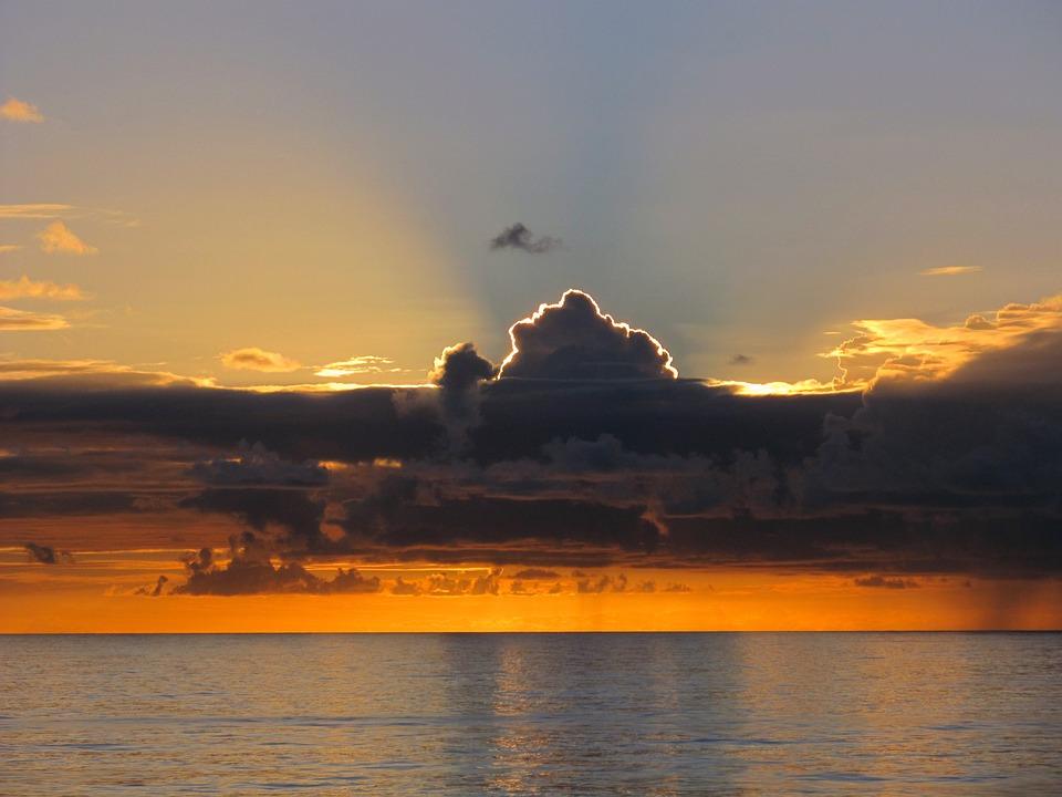 Sun, Set, Sunset, Fire, Sea, Ocean, Clouds
