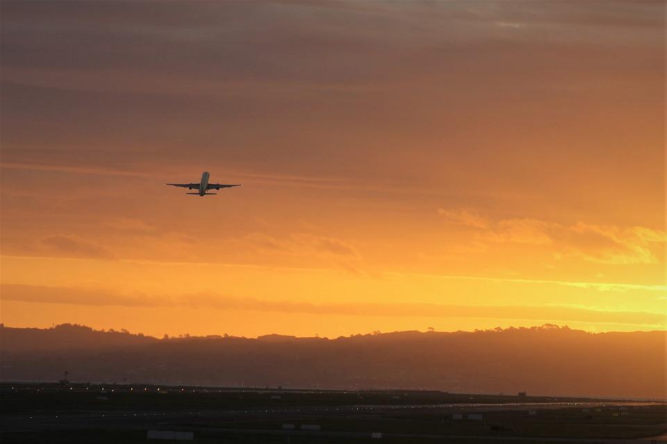 Setting, Off, Golden, Sun, Set, Aero, Plane, Aircraft