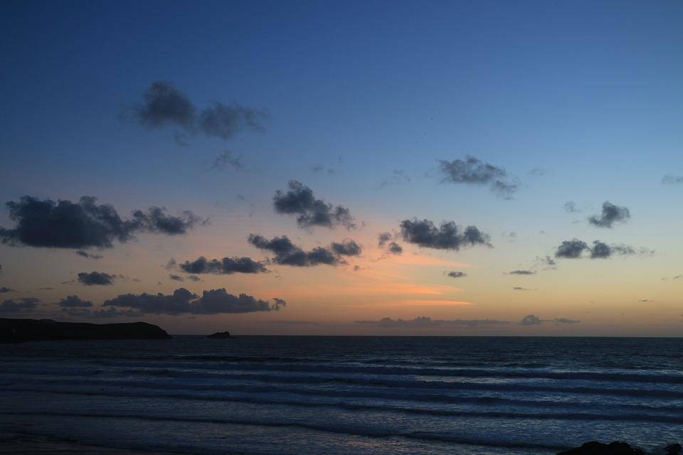 Evening, Scene, Sunset, Dawn, Sets, Surf, Water, Tide
