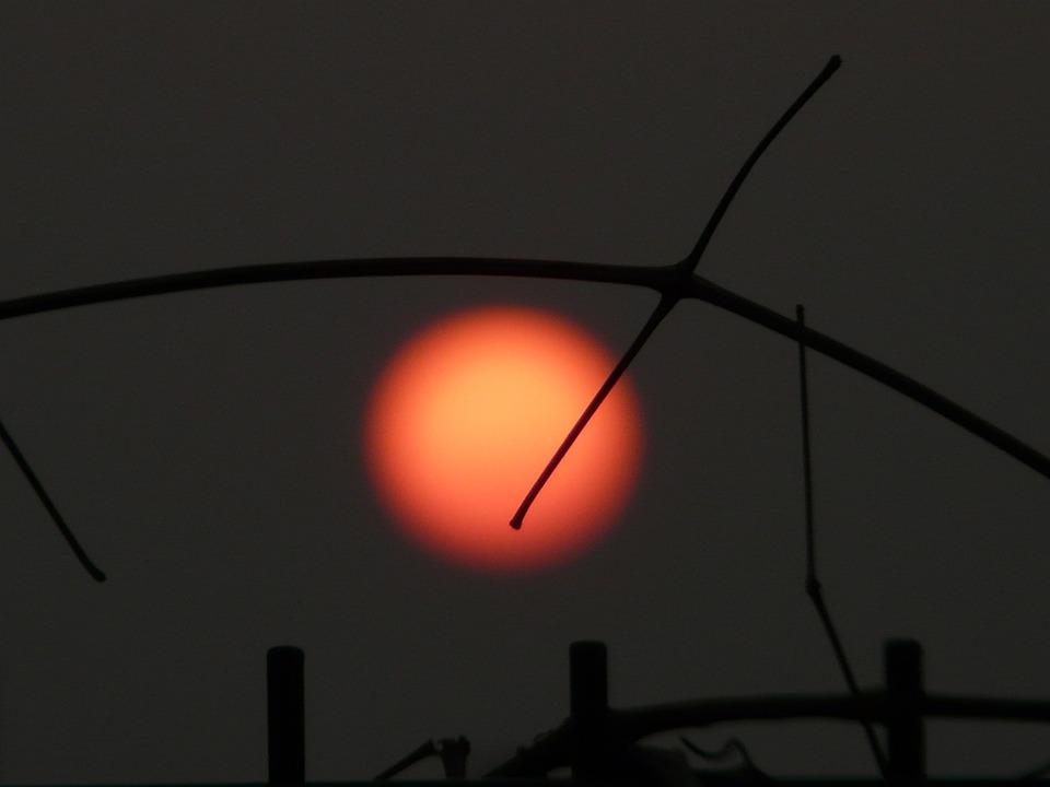 Sun, Red, Setting, Gloomy, Mood, Dark, End Of The World