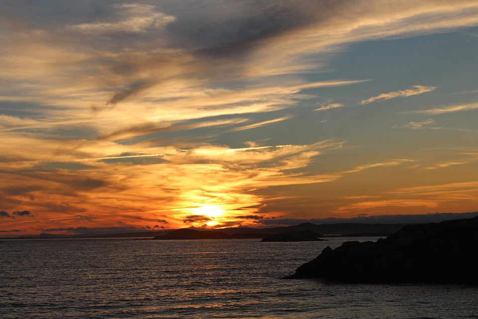 Sunset, Sea, Sun, Setting, Idyll, Romantic, Nature