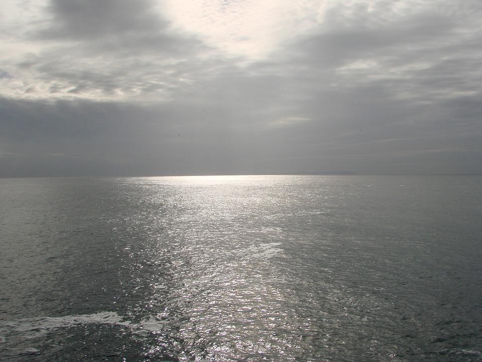 Sun, Clouds, Setting, Back Light, Ocean