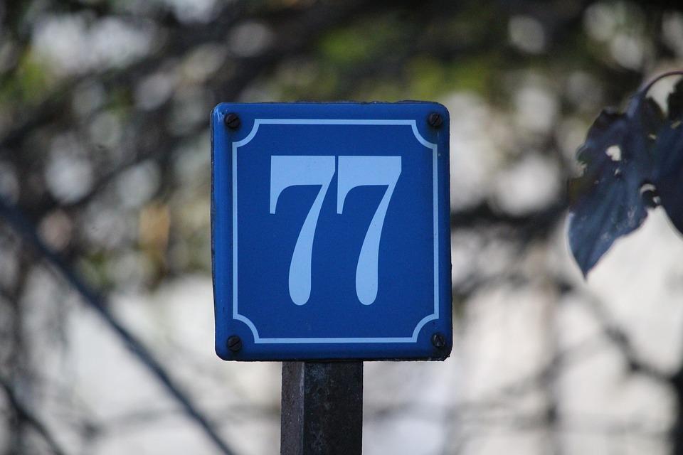 Number, House Number, Shield, Blue, Seven