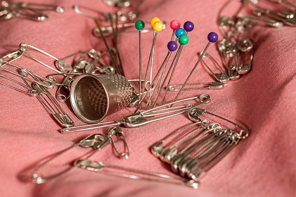 Sewing, Thimble, Pins, Safety Pins, Needle, Mending
