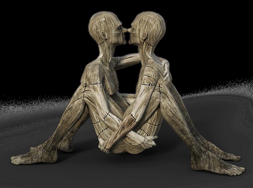 Man, Pair, Sexuality, Men, Pantomime, Holzfigur, Hug