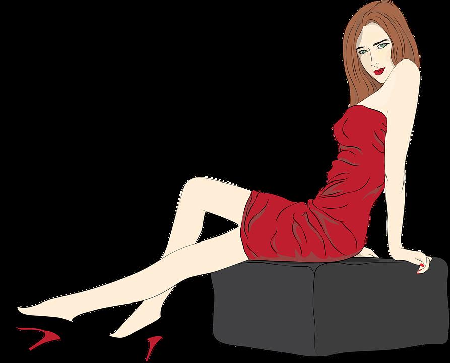 Woman, Sexy, Flirt, Red, Outside