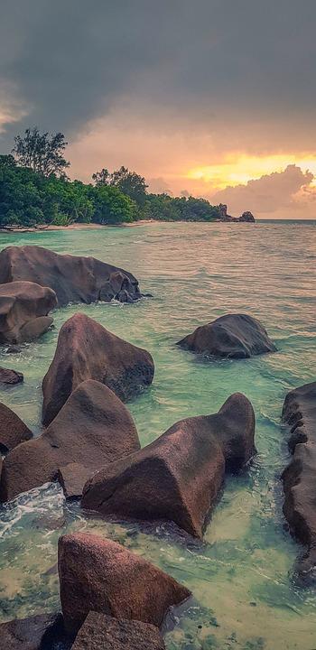 Seychelles, Sunset, Ocean, The Sky, An Island, Tropical