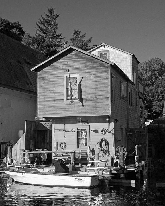 Fishing, Shack, Shanty, Boat, Dock, River