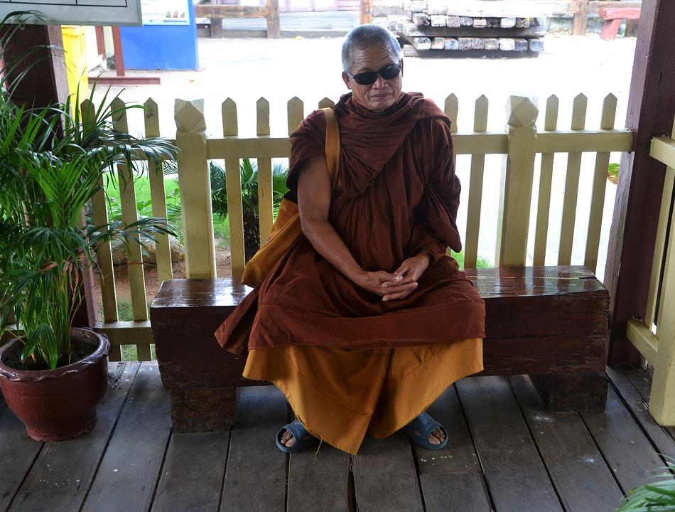 Monk, Waiting, Shades, Dark Sunglasses, Religion